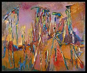Martha Zuik: La marcha, 150 x 180 cm, oleo, 2002