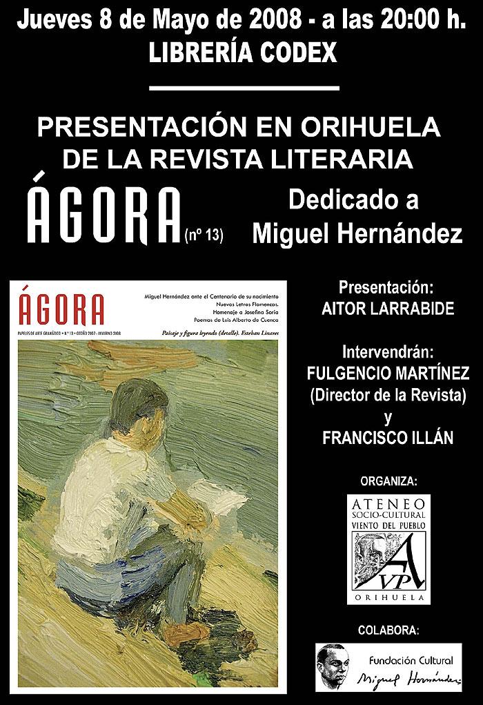 Cartel de la presentación del número 13 de Ágora en Orihuela