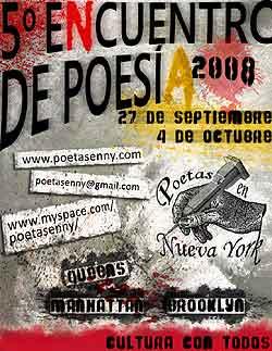 Cartel del Quinto Encuentro Poetas en Nueva York
