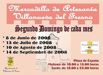 Cartel del Mercadillo de Artesanía de Villanueva del Fresno (Badajoz)