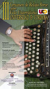 Cartel del Certamen Internacional de Relato Breve sobre Vida Universitaria Universidad de Córdoba
