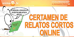 Logo y cartel del Certamen de Relatos Cortos Animacam.tv